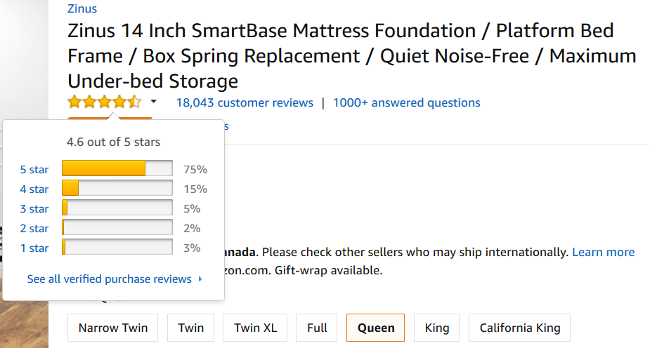Reviews for zinus 14 inch smartbase mattress frame